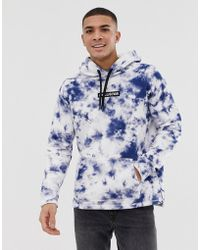 Hollister - Small Chest Logo Acid Wash Overhead Hoodie In Blue Exclusive At Asos - Lyst