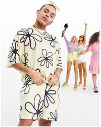 ASOS Co-ord Oversized Jersey Shorts With All Over Flower Print - Multicolour