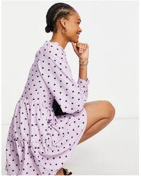 Closet Robe babydoll courte à manches bouffantes, imprimé cœur et effet étagé - Lavande - Violet