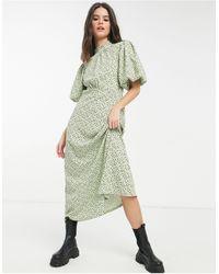 River Island Зеленое Платье Мини С Высоким Воротником И Мелким Цветочным Принтом -зеленый Цвет