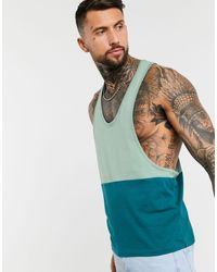 ASOS Organic Extreme Racer Back Vest With Contrast Yoke - Green