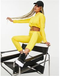 Naanaa Cropped Drawstring Hoodie - Yellow