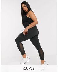 ASOS 4505 Curve - legging emblématique avec coutures effet sculptant et poche - Noir