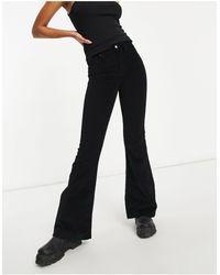 TOPSHOP Black Corduroy Jamie Flare Jeans