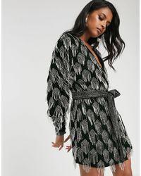 ASOS Beaded Tassel Velvet Wrap Dress-green