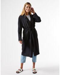 Miss Selfridge Longline Coat With Waist Tie - Black
