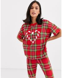 Monki Christmas Tartan Candy Print Pajama Set - Red