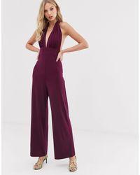 AX Paris Plunge Wide Leg Jumpsuit-purple