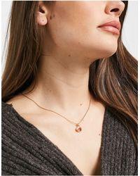 Pilgrim Позолоченное Розоватое Ожерелье С Овальным Камнем Из Стекла -розовый Цвет