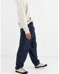 ASOS – Weitgeschnittene, elegante Hose aus blauer Wollmischung mit hohem Bund - Grau