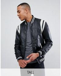 Barneys Originals Tall Real Leather Varsity Jacket With Paneling - Black