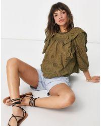 Y.A.S Блузка Цвета Хаки С Оборками И Вышивкой Ришелье От Комплекта -зеленый Цвет