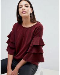 AX Paris - Jumper With Frill Sleeve Detail - Lyst