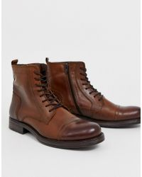 Jack & Jones Lace Up Leather Boot In Brown
