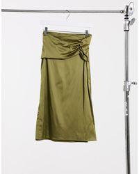Naanaa Satin Bias Cut Midi Skirt - Green