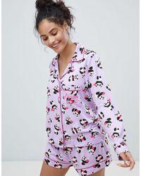 Chelsea Peers - Heart Panda Revere Short Pajama Set - Lyst