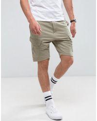 Bershka Cargo Jersey Shorts In Khaki - Green