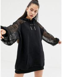 Ivy Park Lace Detail Hoodie Dress In Black