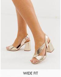 River Island Wide Fit Heeled Sandals - Metallic