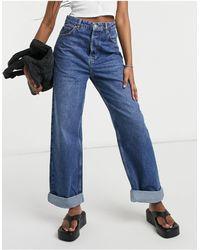 TOPSHOP One - Jean mom oversize en denim à délavage moyen - Bleu