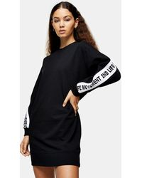 TOPSHOP 2nd Life Slogan Sweatshirt Dress - Black