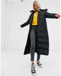 Brave Soul Hopma Longline Puffer Jacket With Faux Fur Trim Hood - Black