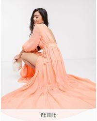Y.A.S Petite Robe cache-cœur longue à dos ouvert - Orange