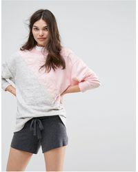 Hollister Color Block Logo Sweatshirt - Gray