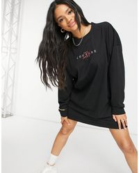 The Couture Club Archive Logo Oversized Long Sleeve T-shirt Dress - Black