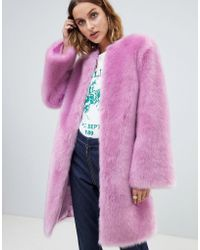 ASOS Faux Fur Midi Coat With Flared Sleeve - Pink