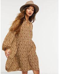 Vila Smock Dress With Tiered Skirt - Brown