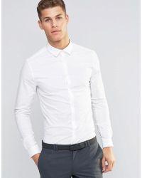 ASOS - Skinny Overhemd In Wit - Lyst