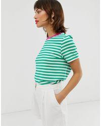 & Other Stories Gestreept t-shirt Met Contrasterende Afwerking - Groen