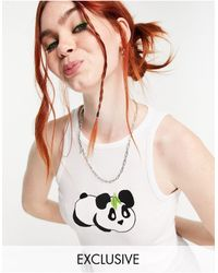 Native Youth Rib Single With Panda Embroidery - White