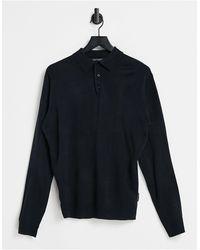 French Connection Темно-синяя Рубашка-поло С Длинными Рукавами -темно-синий