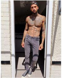 Only & Sons Slim-fit Jeans Met Wassing - Grijs
