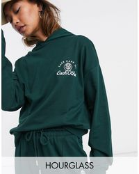 ASOS Hourglass Tracksuit Oversized Hoodie / Oversized jogger With Take Care Embroidery - Green