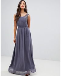 AX Paris Pleated Maxi Dress With Embellished Detail - Gray