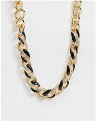 ASOS Collana con catena mista nera e oro - Metallizzato