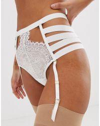 Hunkemöller - Peaches - Culotte porte-jarretelles taille haute avec brides - Blanc cassé - Lyst