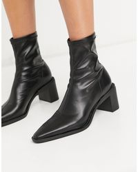 Pull&Bear Point Toe Heeled Ankle Boot - Black