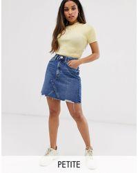 River Island Denim Skirt With Raw Hem - Blue