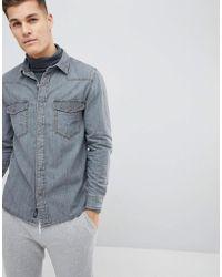Mango - Man Denim Shirt In Gray - Lyst