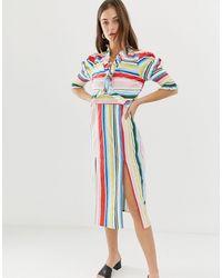 Vero Moda Платье Миди В Полоску С Боковыми Разрезами -многоцветный