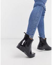 HUNTER Original - Stivali da pioggia Chelsea nero lucido rifiniti