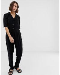B.Young Button Front Jumpsuit - Black