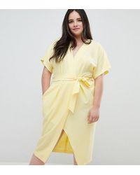 Closet London Plus - Short Sleeve Tie Front Dress - Lyst