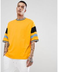 ceb60547e ASOS Extreme Oversized Super Longline T-shirt With Color Blocking In ...