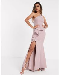 Jarlo One Shoulder Ruffle Maxi With Thigh Split - Pink