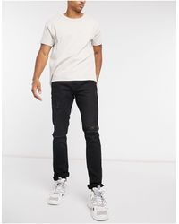 Pull&Bear Slim Fit Jeans With Rips - Black